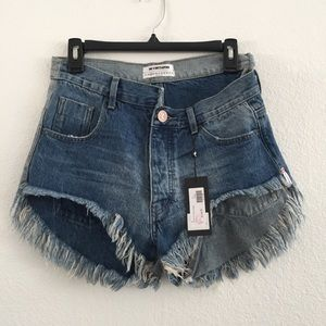 NEW One Teaspoon Rollers Distressed Jean Shorts 24